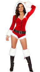 Hooded Christmas Romper with Belt - as shown