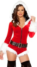 Hooded Christmas Romper with Belt