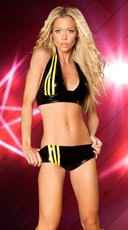 Striped Metallic Short and Halter Top - Black/Sunshine