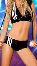 Striped Metallic Short and Halter Top - Black/White