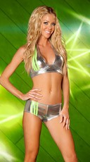 Striped Metallic Short and Halter Top - Silver/Apple