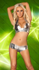 Striped Metallic Short and Halter Top - Silver/Black