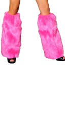 Faux Fur Leg Warmers - Hot Pink