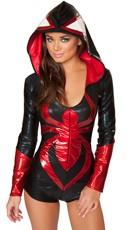 Sexy Black Spider Costume - Black/Red