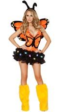 Sexy Orange Butterfly Romper - Orange/Black