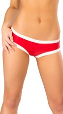 Banded Booty Shorts - Red/White