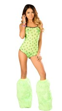 Neon Skull Print Romper Set - as shown