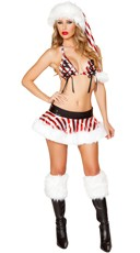 Metallic Candy Cane Skirt Set - Red/White