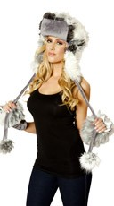 Furry Hat and Gloves Set - as shown