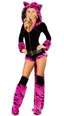 Deluxe Hot Pink Tiger Romper Costume - as shown