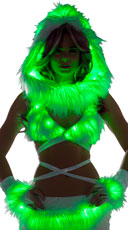 Furry Light-Up Wrap Top - White/Green