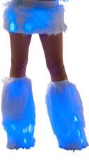 Furry Light-Up Legwarmers - White/Blue