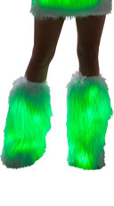 Furry Light-Up Legwarmers - White/Green