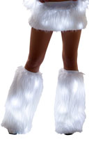 Furry Light-Up Legwarmers - White/White