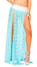 Mesh Sequin Star Maxi Skirt - Aqua/Silver
