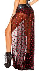 Mesh Sequin Star Maxi Skirt - Black/Red