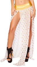 Mesh Sequin Star Maxi Skirt - White/Gold