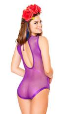Sheer Fishnet Romper - Purple