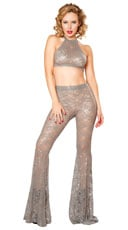 Sequin Lace Crop Top and Pants Set - as shown