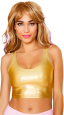 Metallic Cropped Tank Top - Gold