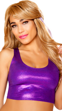 Metallic Cropped Tank Top - Purple