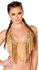 Faux Suede Beaded Fringe Top - Honey