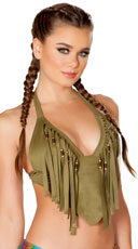 Faux Suede Beaded Fringe Top - Olive