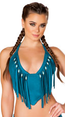 Faux Suede Beaded Fringe Top - Teal