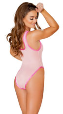High Cut Mesh Bodysuit - Baby Pink