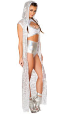 Long Sequin Cloak - White/Silver