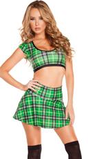 So Fancy Plaid Mini Skirt Set - as shown