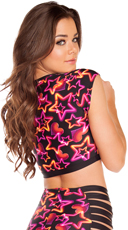 Neon Star Crop Top - Pink Star