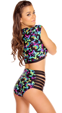 Neon Star Crop Top and High Waisted Short Set - as shown