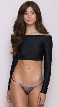 Long Sleeve Crop Top - Black