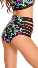 Neon Star Strappy High Waisted Shorts - Blue Star
