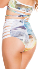 Smoke Print Strappy High Waisted Shorts - Smoke Monster
