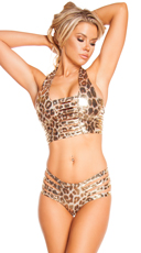 Leopard Ladder Halter Bikini Set - as shown