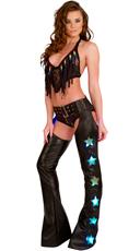 Fringe Bikini and Black Light-Up Chaps Set - as shown