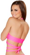 Wrap Tie Halter Top - Hot Pink