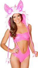 Spiked Fur Light-Up Hood - White/Hot Pink