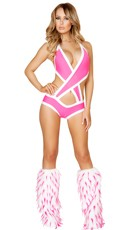 Solid Criss-Cross Bodysuit - Hot Pink/White