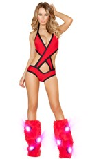 Solid Criss-Cross Bodysuit - Red/Black