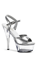 6 Inch Spike Heel Platform Sandal - Silver/Clear