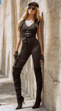 Sexy SWAT Commander Costume - Black