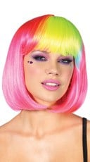 Pop Rainbow Bang Wig - Neon Pink