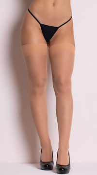 Sheer Backseam Stockings - Nude