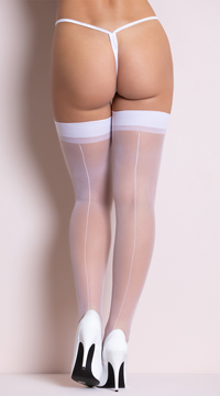 Sheer Backseam Stockings - White