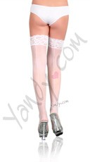 Plus Size Nylon Sheer Thigh Highs with Lace Top - White