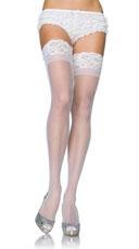 Plus Size Lycra Never Slip Thigh High Stocking - White