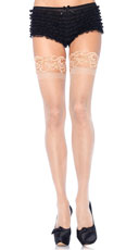 Plus Size Lycra Never Slip Thigh High Stocking - Nude